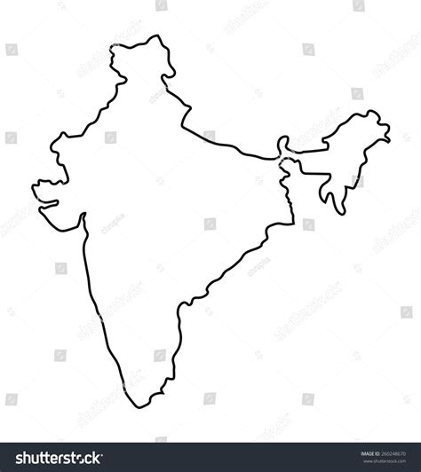 Photo Of Outline Map Of India by Black Outline India Map Stock Vector 260248670