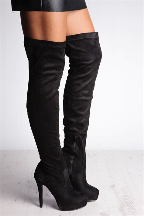 high heeled the knee boots serena black the knee boots with heel misspap