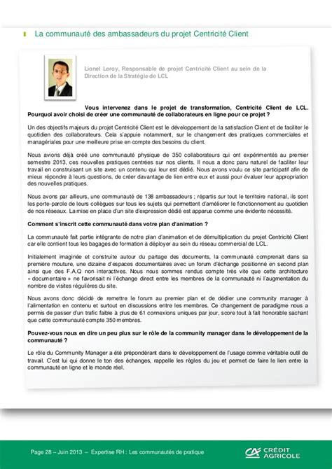 Lettre De Motivation Banque Lcl Quot Expertise Rh Le Travail Collaboratif Quot Cr 233 Dit Agricole