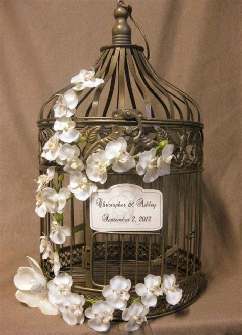 Gold Bird Cage Wedding Card Box Vintage Style with Orchid