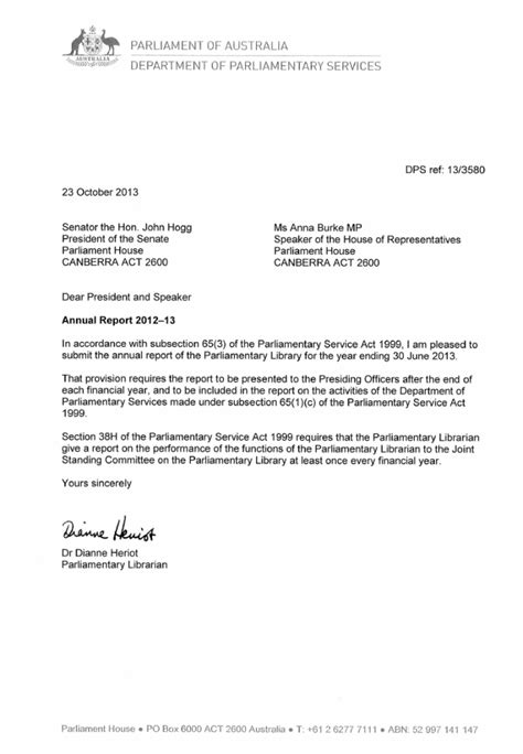 letter of transmittal old parliament house annual report 2012 13