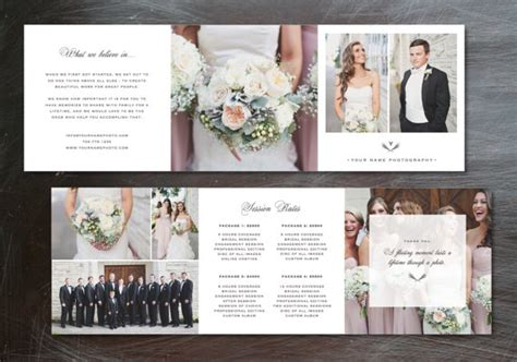 Wedding Marketing Brochure by Photography Marketing Photography Template Trifold Pricing