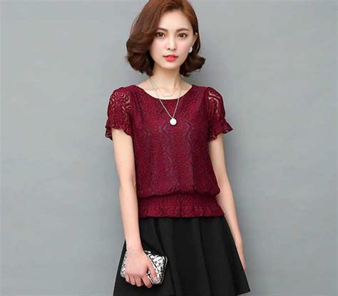 T3719 Blouse Import Korea 100 No Replika blouse from korea bahan brokat lengan pendek 35m30