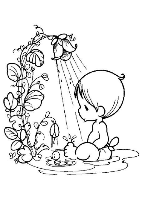 Free E A Shower Coloring Pages Precious Moments Baby Coloring Pages Free