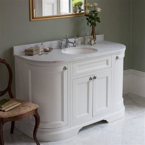 Traditional Bathroom Vanity Units Uk by Burlington Matt White 1340mm Curved Freestanding Vanity