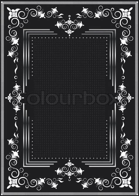 decorative frame for silver decor on a black background stock vector colourbox