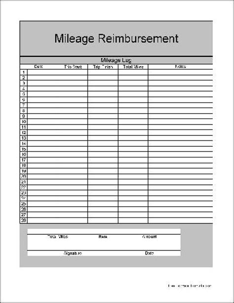 2012 form mileage allowance free printable mileage log