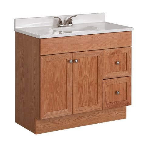 Lowes Bathroom Vanity Sinks Shop Project Source Oak Integral Single Sink Bathroom Vanity With Cultured Marble Top Common