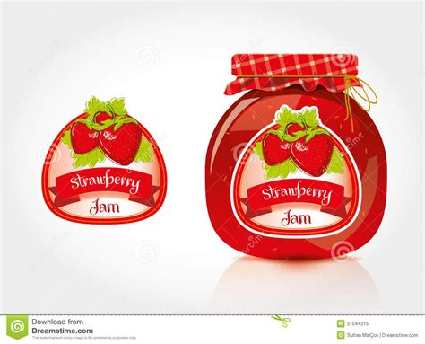 design ideas for jelly labels strawberry jam label with jar stock image image of
