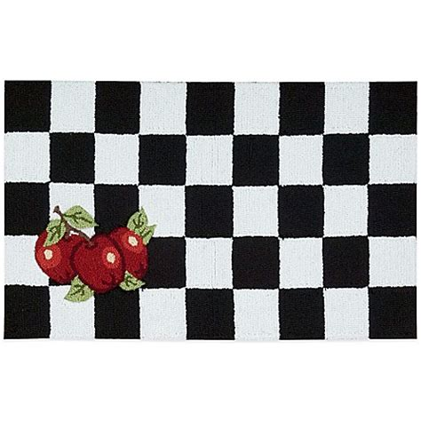 Black And White Kitchen Rug Nourison Apple 33 Inch X 20 Inch Kitchen Rug In Black White Bed Bath Beyond