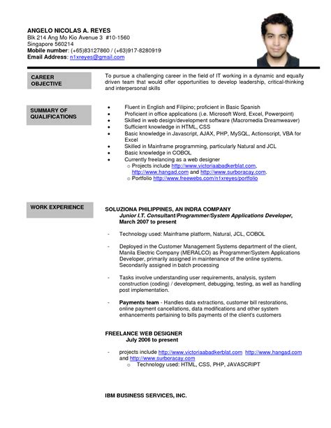 format cv singapore formal letter sle sle resume format best template