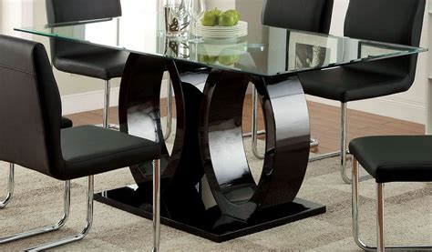 glass top pedestal dining room tables lodia i black glass top rectangular pedestal dining room