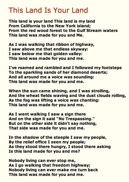 This Is Lyrics This Land Is Your Land Blogsense By Barb