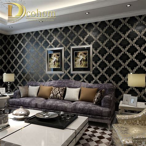 European Inspired Home Decor Aliexpress Buy Simple Luxury European Style Beige Black Damask Wallpaper For Walls Bedroom