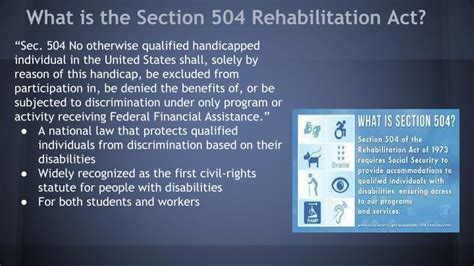 what is section 504 of the rehabilitation act ppt section 504 rehabilitation act 1973 powerpoint