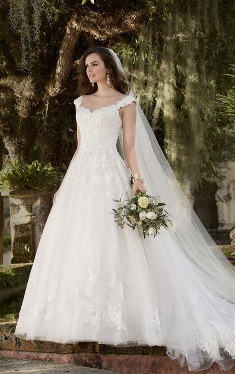 845 Line Dress lace wedding dresses with cap sleeves essense of australia