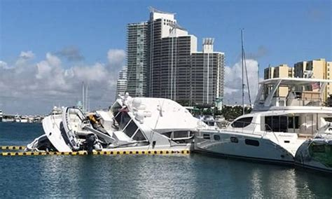miami beach marina stolen 24m superyacht crashes and sinks in miami beach marina