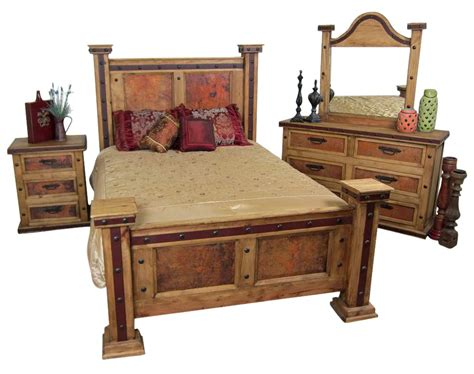 Rustic Bedroom Furniture Sets pounded copper rustic bedroom set mexican rustic