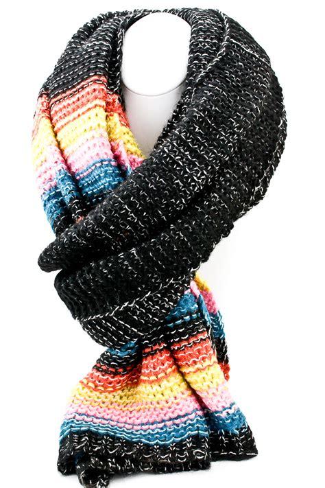 Multi Scarf knit multi color block scarf scarves