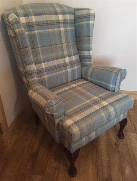 Sofa Wing Chair wingback tartan chair wing back arm sofa armchair tartan shabby chic seat 3