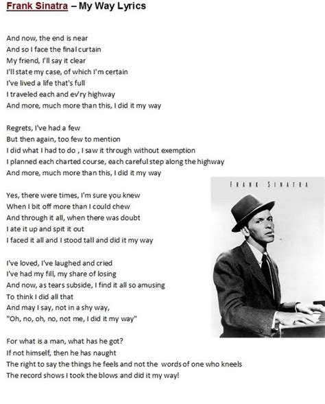 frank sinatra lyrics frank sinatra my way lyrics to songs poems