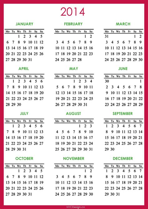 free printable calendar 2014 with holidays www