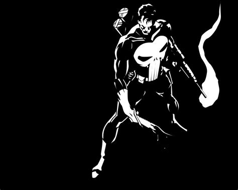 black and white comic wallpaper punisher in black and white
