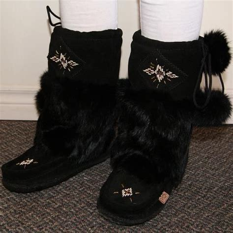 Handmade Mukluks Canada - authentic canadian black suede mid calf mukluk