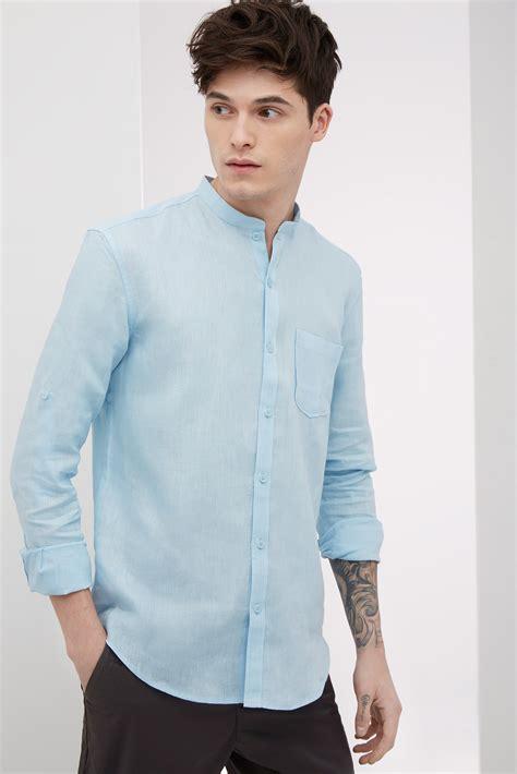 Kaos Straigh Answer Black Color A103 Camisa De Lino Con Cuello Mao U Adolfo Dominguez
