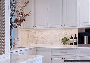Marble Tile Backsplash Kitchen Calacatta Gold Subway Tile And Countertop Ideas