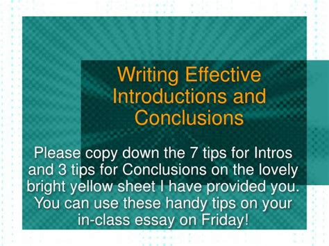 Writing Essay Introductions And Conclusions by Ppt Writing Effective Introductions And Conclusions Powerpoint Presentation Id 1108527
