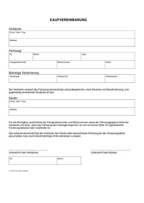 Kaufvertrag Motorrad Uniqa by Kfz Kaufvertrag Privat Kaufvertrag In Vordruck Formular