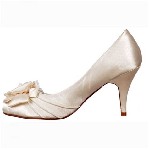 ivory satin flower shoes shoekandi low kitten heel bridal wedding shoes flower