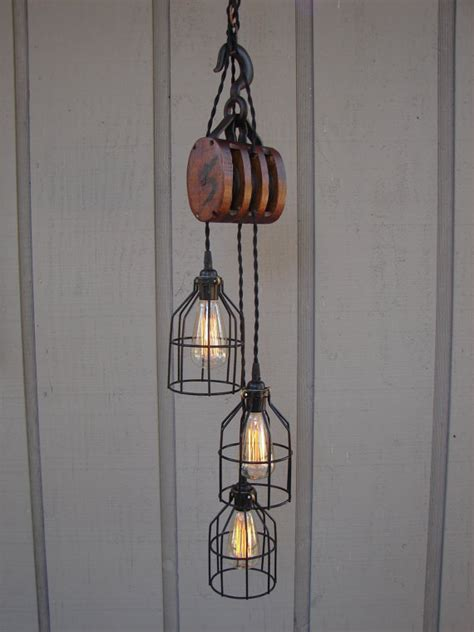 Industrial Pulley Pendant Light Vintage Industrial Pulley Light Wallpaper
