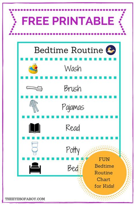 printable toddler routine chart free printable bedtime routine chart for little kids and