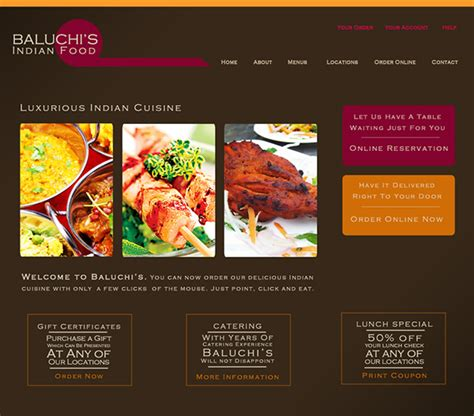 cuisine site indian restaurant website redesign on behance