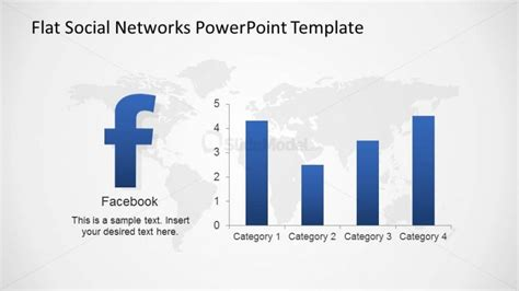 powerpoint themes statistics facebook bar chart usage statistics slide slidemodel