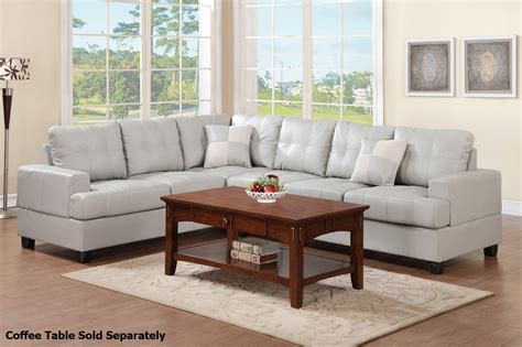 sectional sofa grey poundex pershing f7639 grey leather sectional sofa