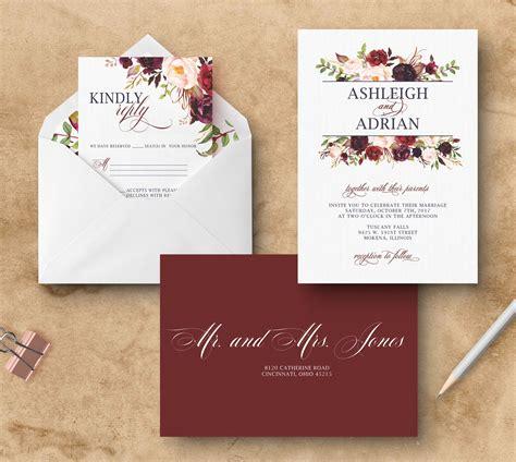 coloured wedding invitations marsala wedding invitation floral burgundy wedding