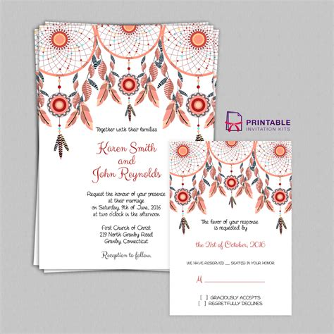print at home invitations templates free pdf boho theme dreamcatchers wedding invitation and