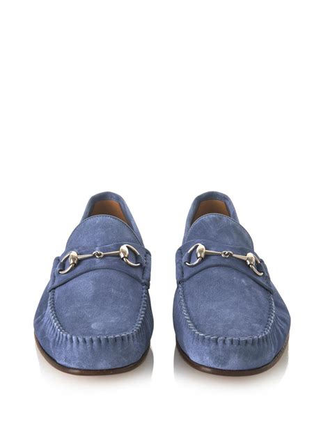 Guc Ci Silver Blue gucci roos suede loafers in blue for lyst