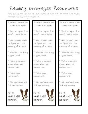 printable bookmarks with reading strategies 7 best images of printable reading strategies bookmarks
