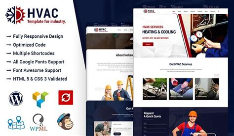 Hvac Air Conditioning Heating And Cooling Wordpress Theme Ewebcraft Heating And Air Conditioning Website Templates