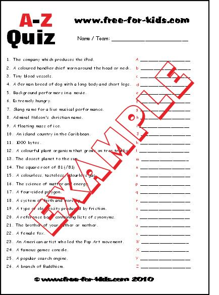 printable quiz a to z quiz questions for children and teenagers
