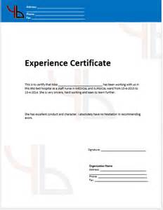 Template For Experience Certificate by Work Experience Certificate Template Microsoft Word