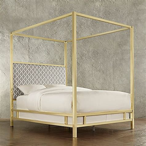 gold canopy bed buy verona home indio gold queen canopy bed in grey from