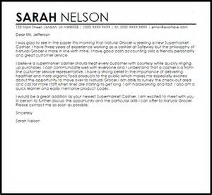 cover letter for cashier supermarket cashier cover letter sle livecareer