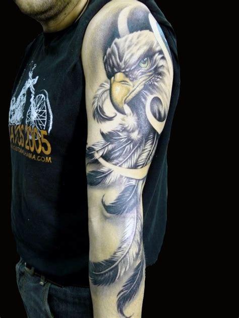 eagle quarter sleeve tattoo eagle with feather sleeve tattoo design for men
