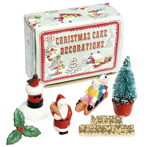 retro christmas cake decorations box of 6
