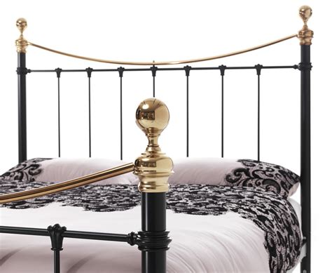 4ft Headboards Shop by Ethan Black And Brass Small 4ft Metal Bed